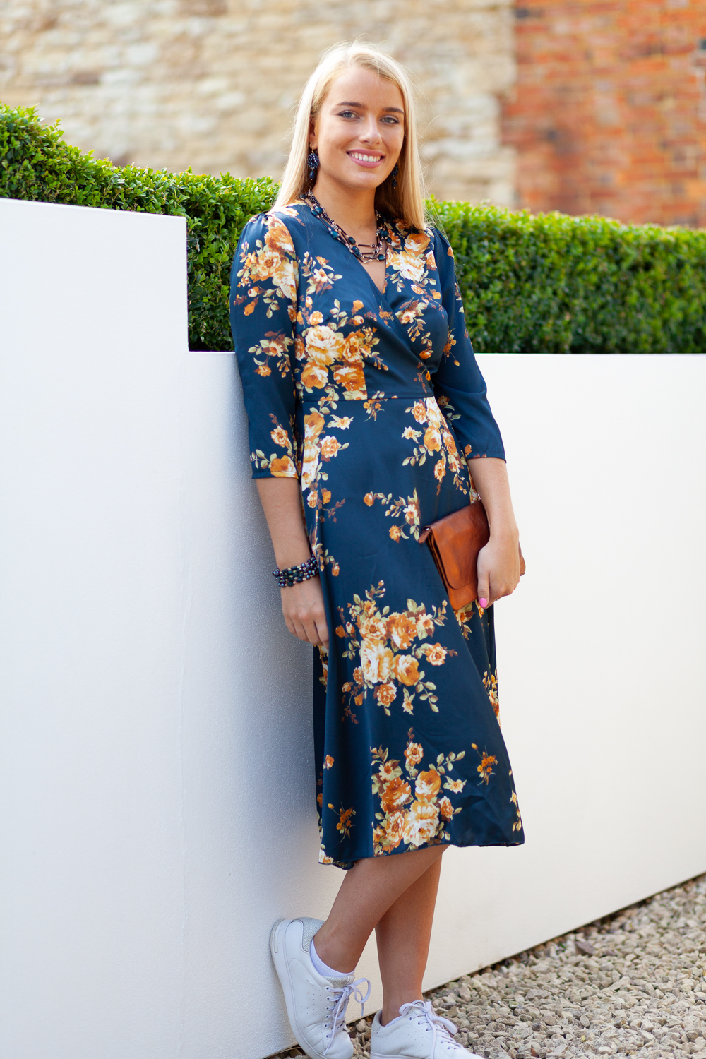 Blue Floral Dress Lifestyle Front