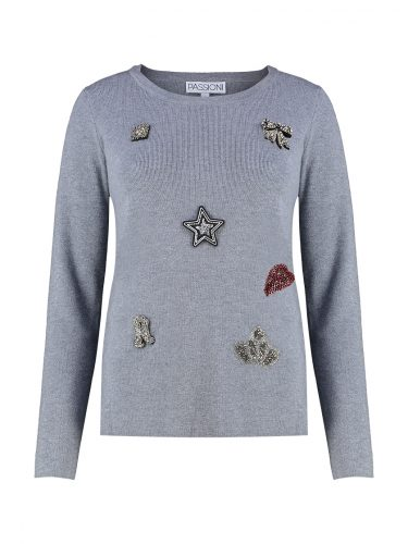 Grey Embellished Sweater Back Front