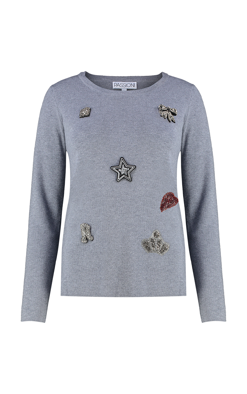 Grey Embellished Sweater Back Front