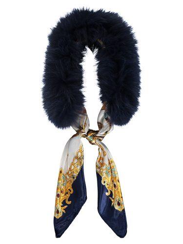 Navy Fur Scarf Collar
