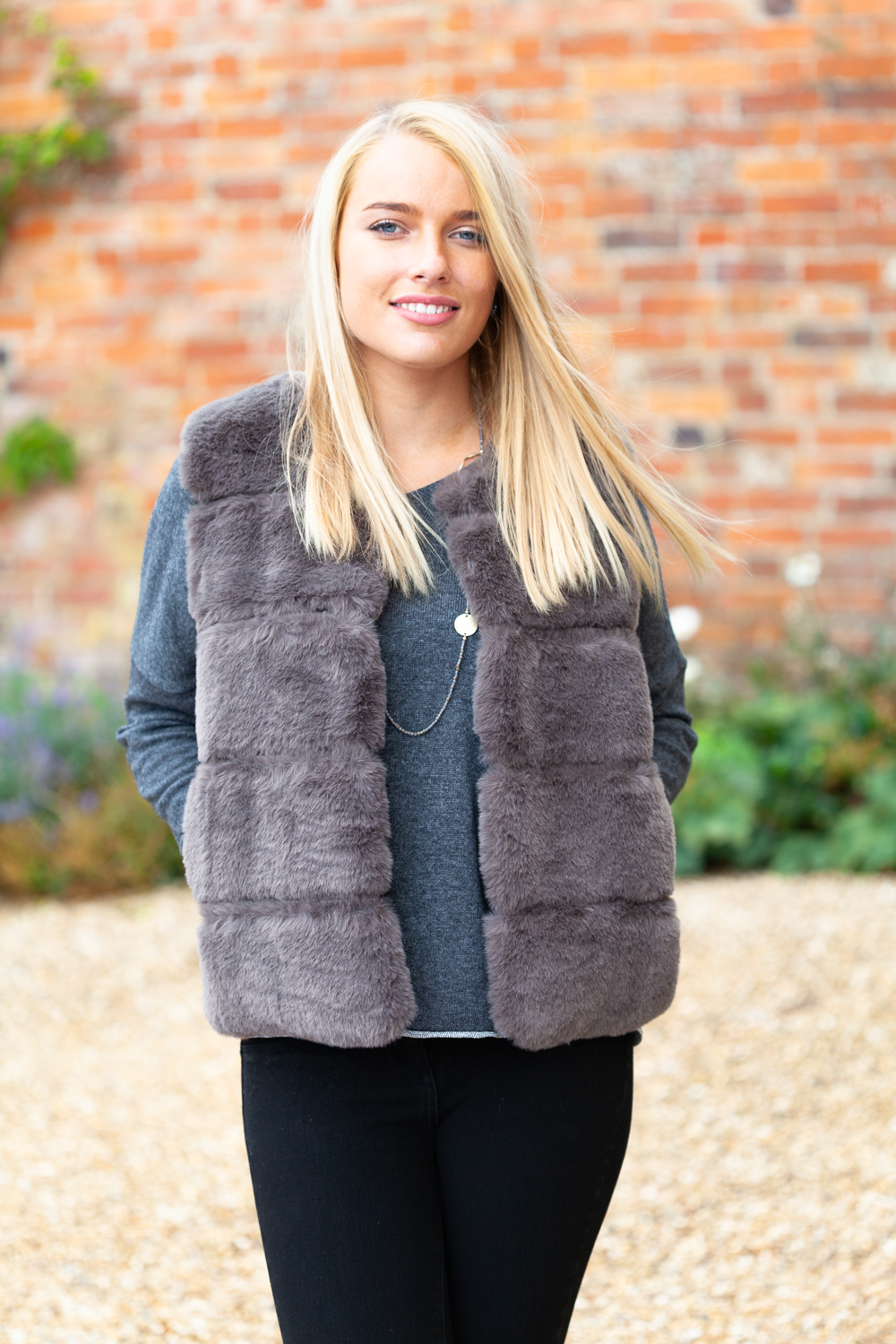 taupe faux fur gilet front lifestyle.2