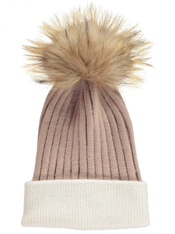 Pink & Cream Bobble Hat