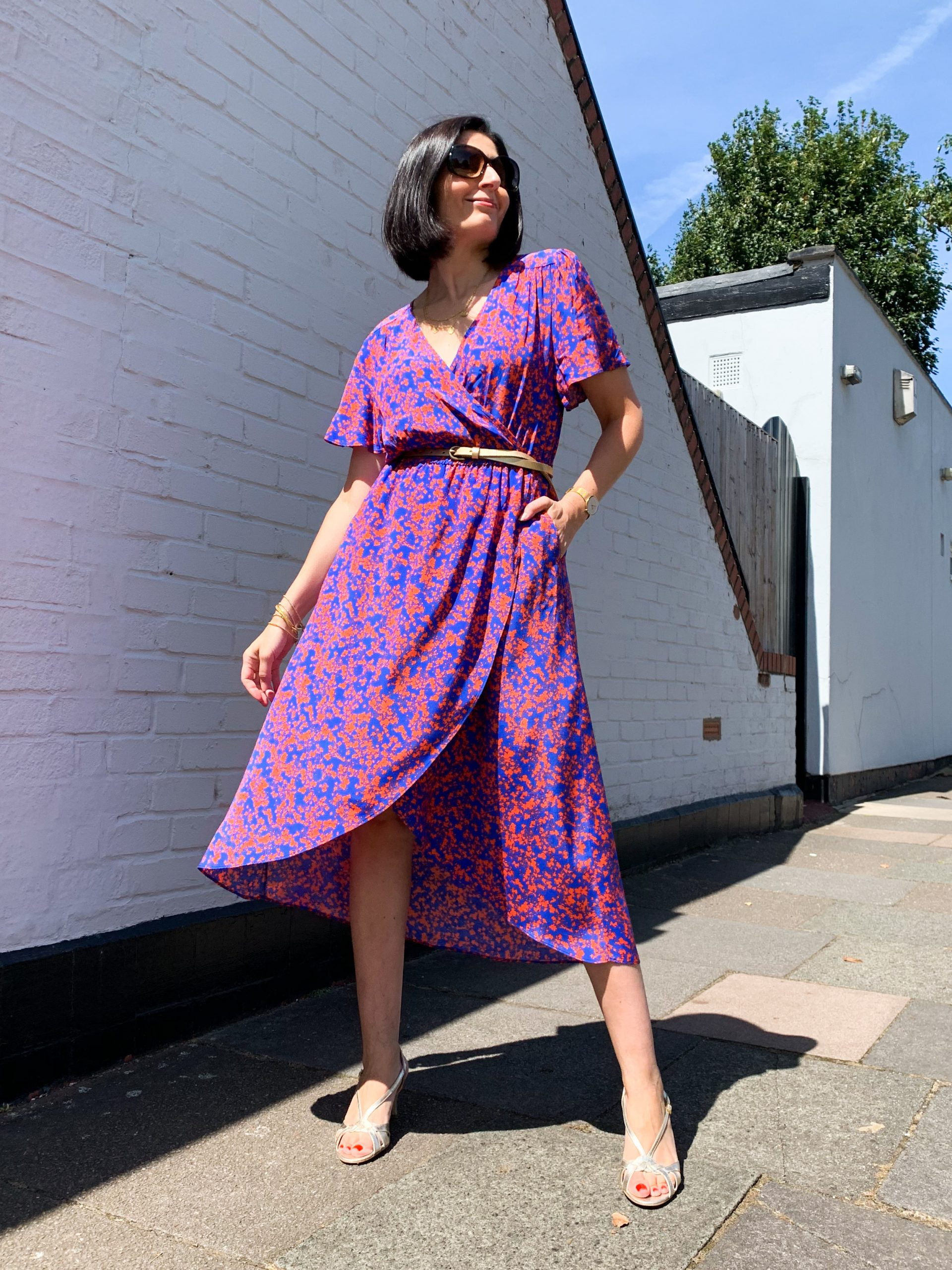 Maria Blue & Red Print Dress