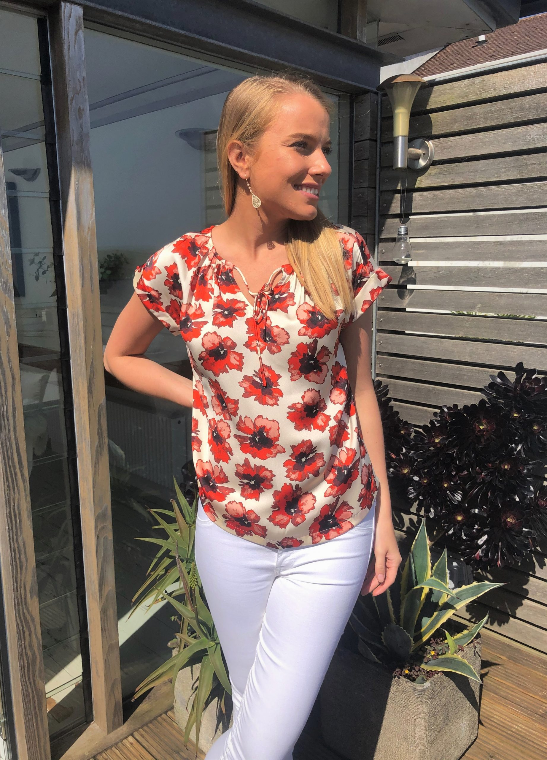 red floral top lifestyle 1