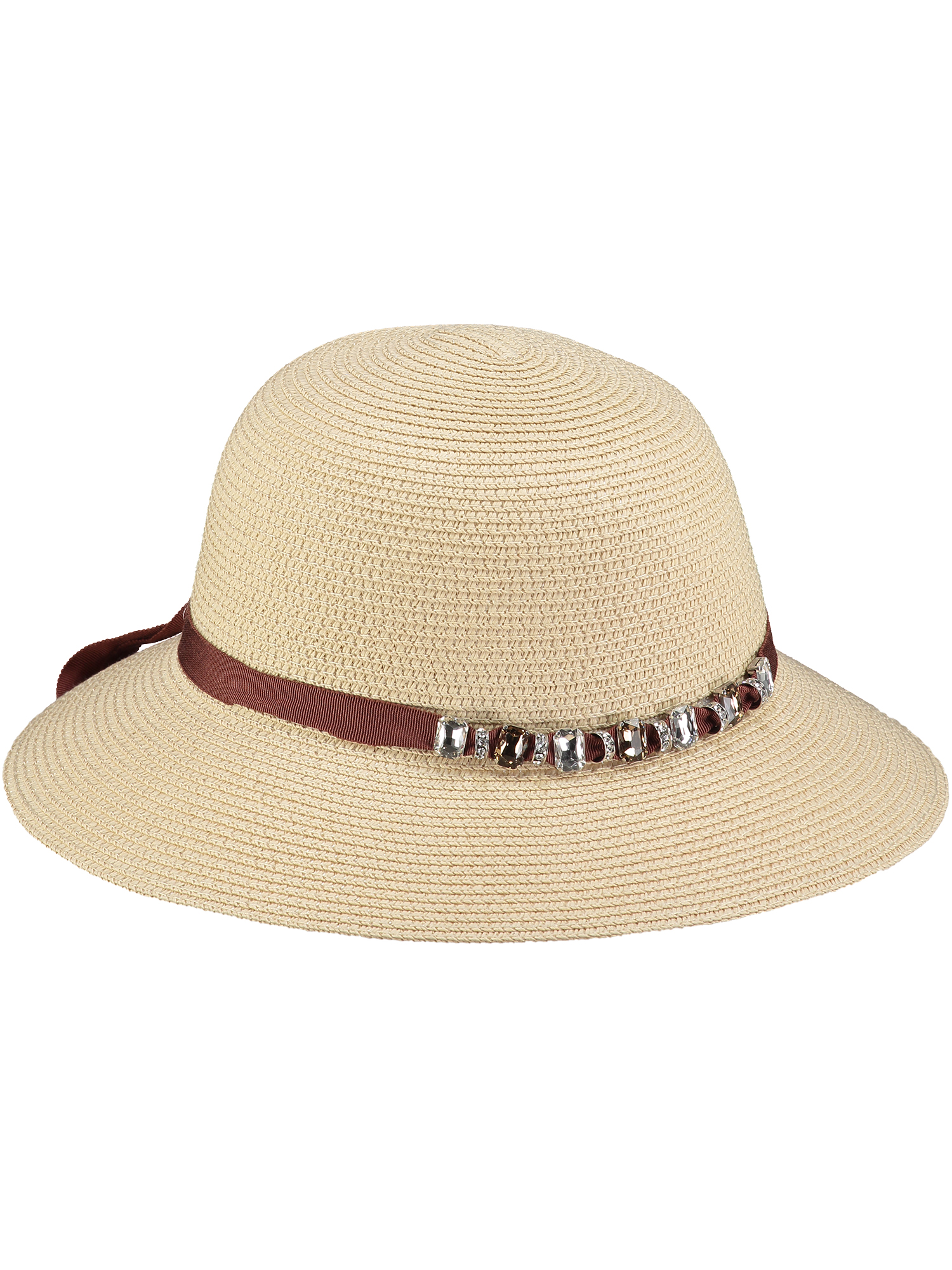 Natural Sun Hat with Crystals