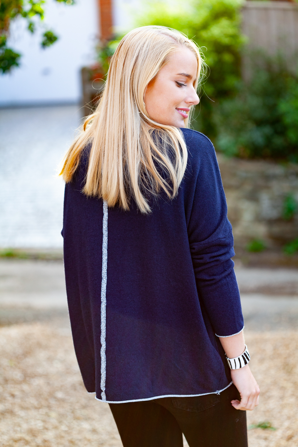 Navy Sweater Silver Stripe Back Lifestyle 1