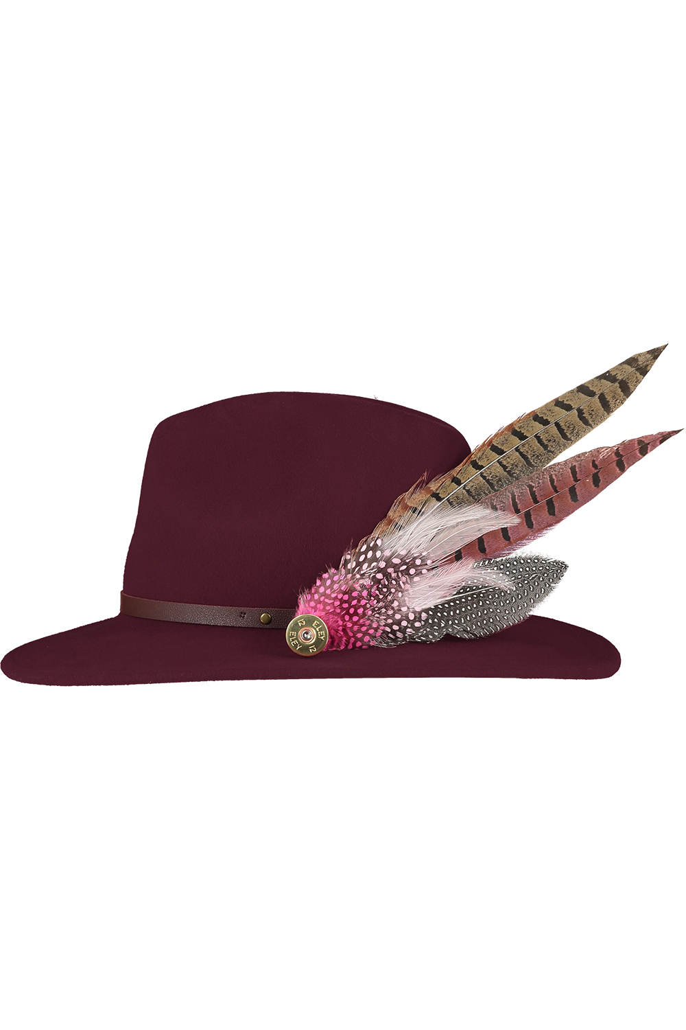 maroon hat large feather