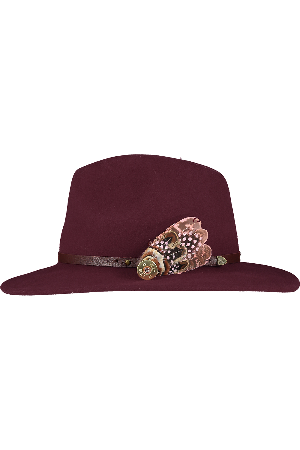 maroon hat med feather