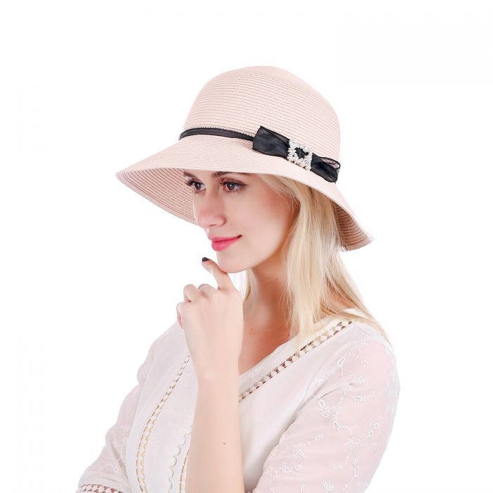 Pink straw hat front