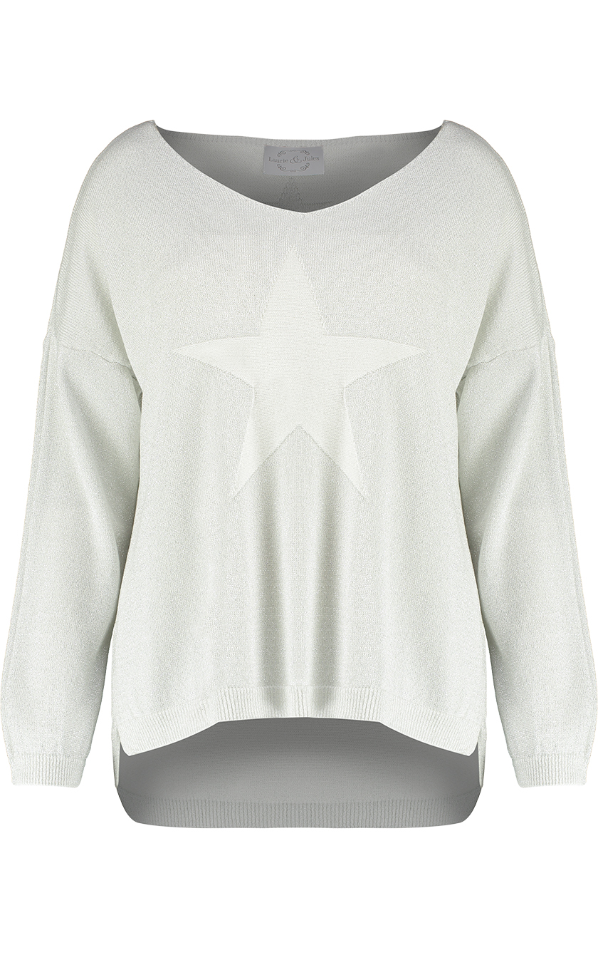 Star Sweater Pale Grey Front 1
