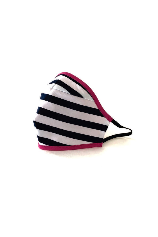 face mask white and black stripe