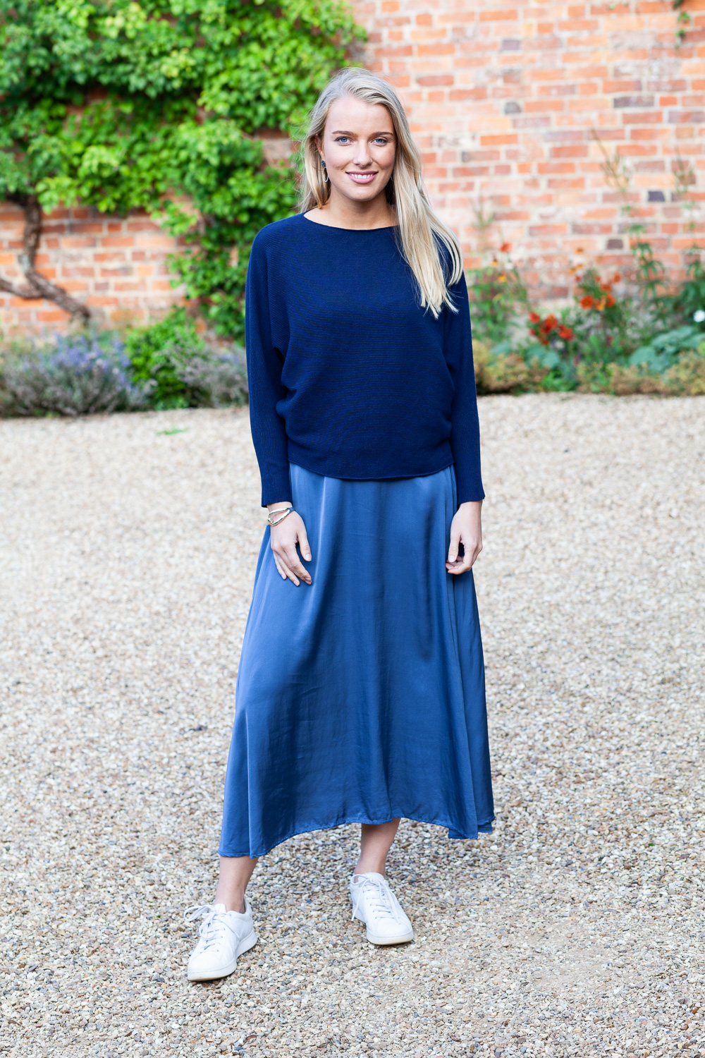 Lily Navy Ribbed Top & Blue Skirt