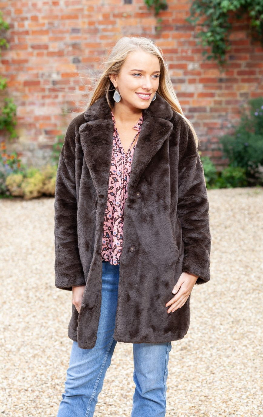 brown faux coat lifestyle 3 (2)