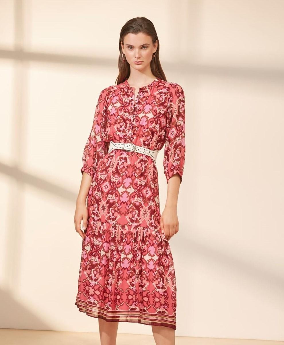 pink print dress f1