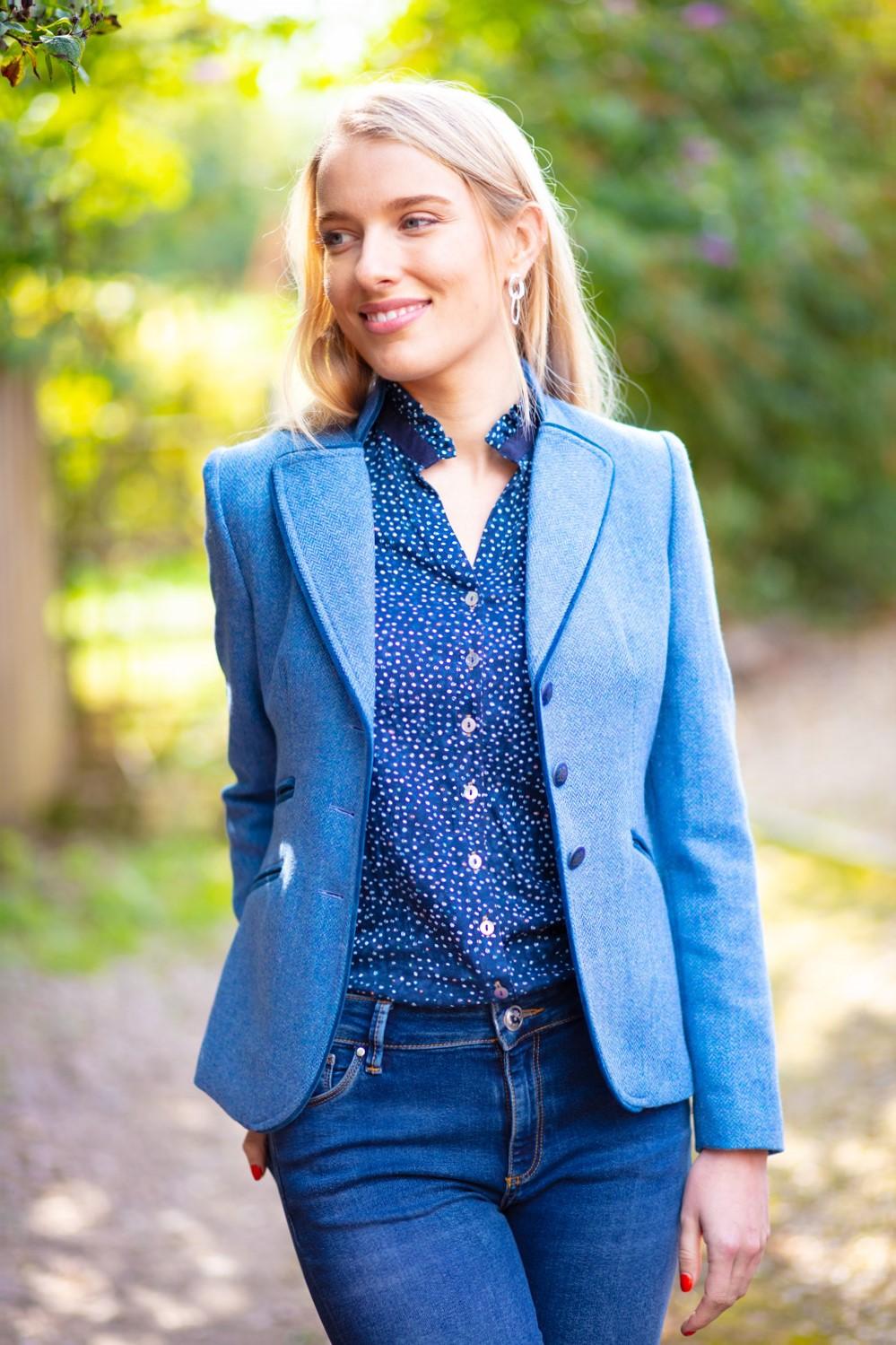 Amora Blue Tweed Jacket Front