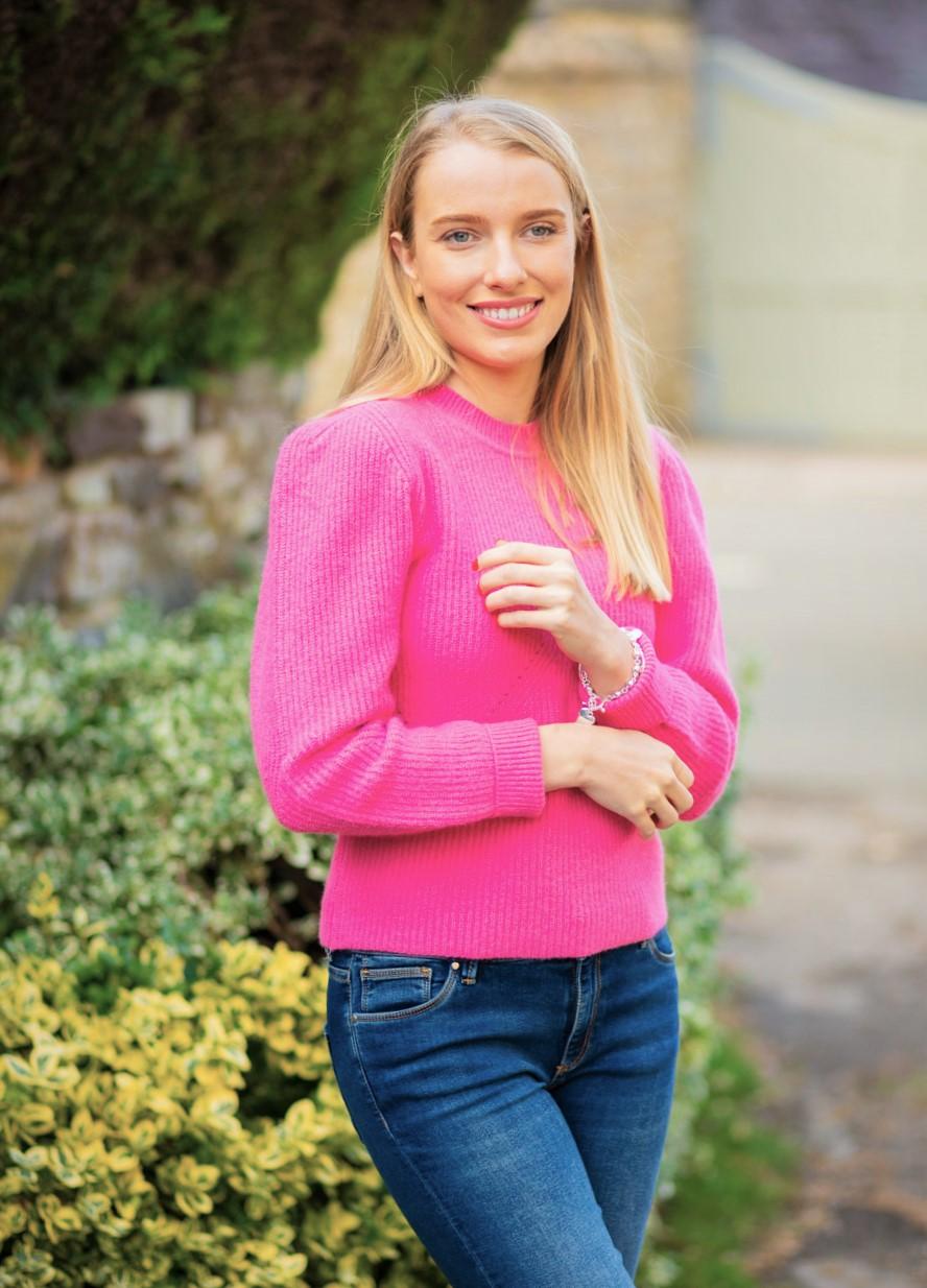 Pink Puff Sleeve Jumper 1